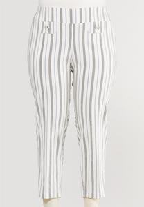 Plus Size Striped Bengaline Ankle Pants