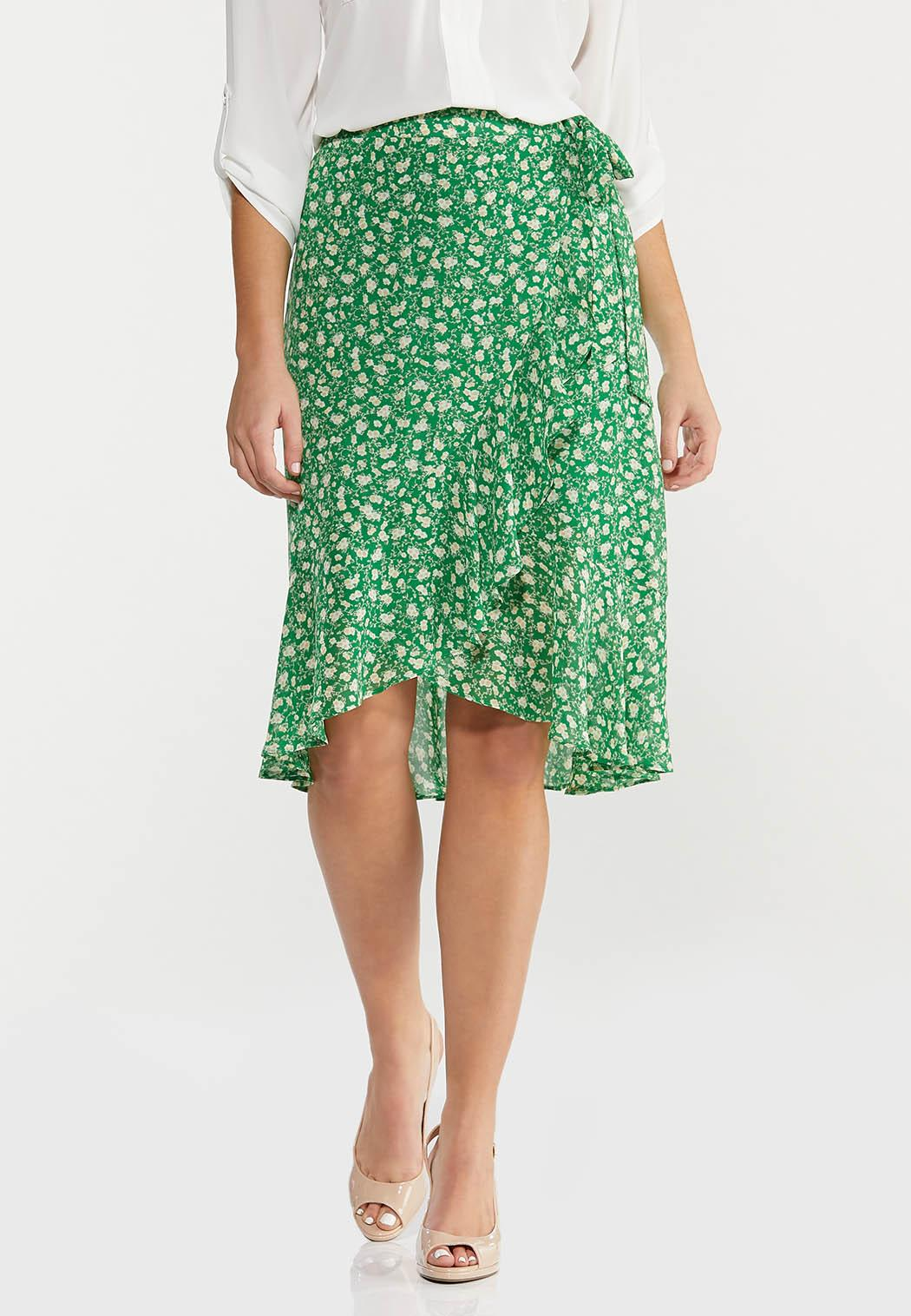 Plus Size Green Floral Faux Wrap Skirt