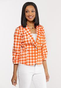 Orange Gingham Sateen Blazer