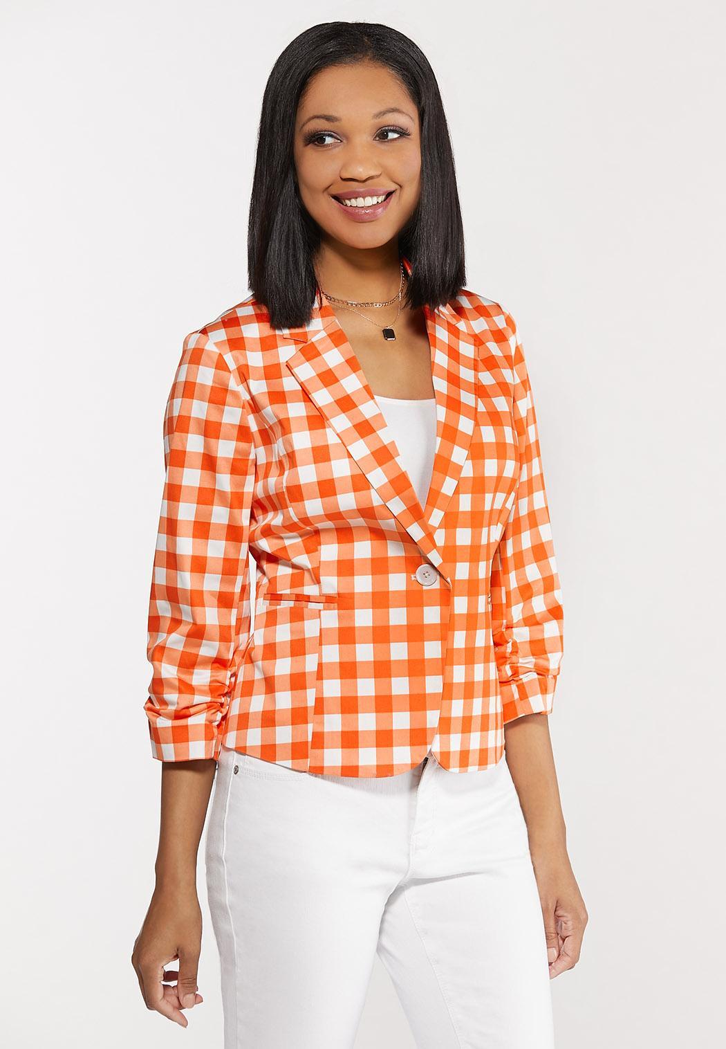 Plus Size Orange Gingham Sateen Blazer
