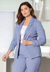 Plus Size Blue Gingham Blazer