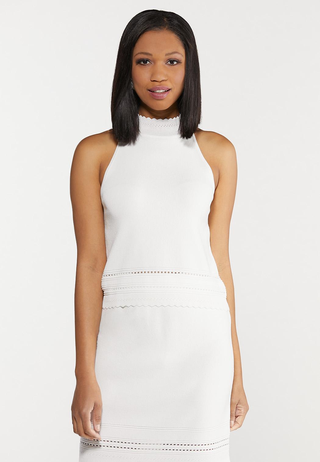 Plus Size Ivory Halter Knit Top
