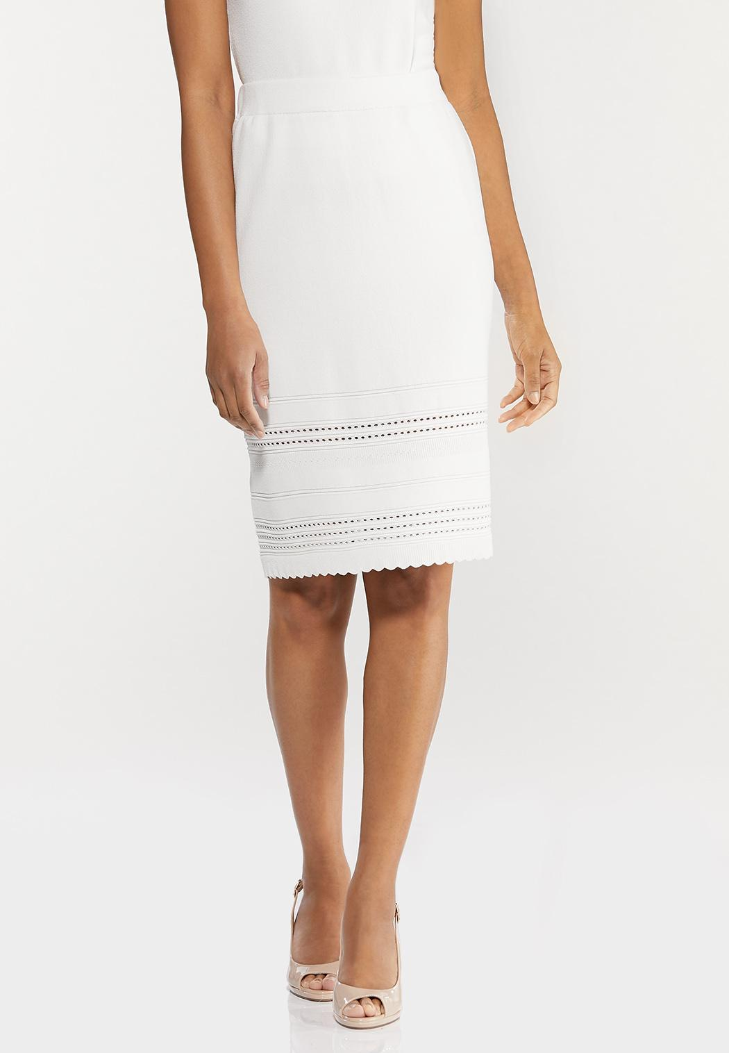Plus Size Ivory Knit Skirt
