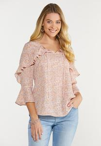 Ruffled Floral Poet Top