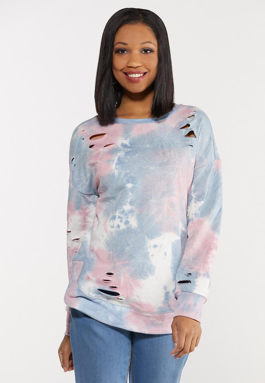 Distressed Tie Dye Sweatshirt