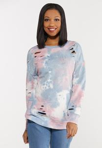 Plus Size Distressed Tie Dye Sweatshirt