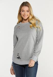 Plus Size Gray Distressed Sweatshirt