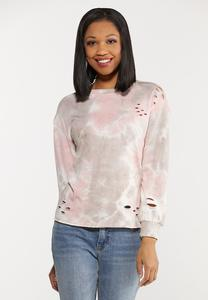Plus Size Distressed Tie Dye Sweatshirt