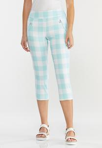Cropped Mint Gingham Pants