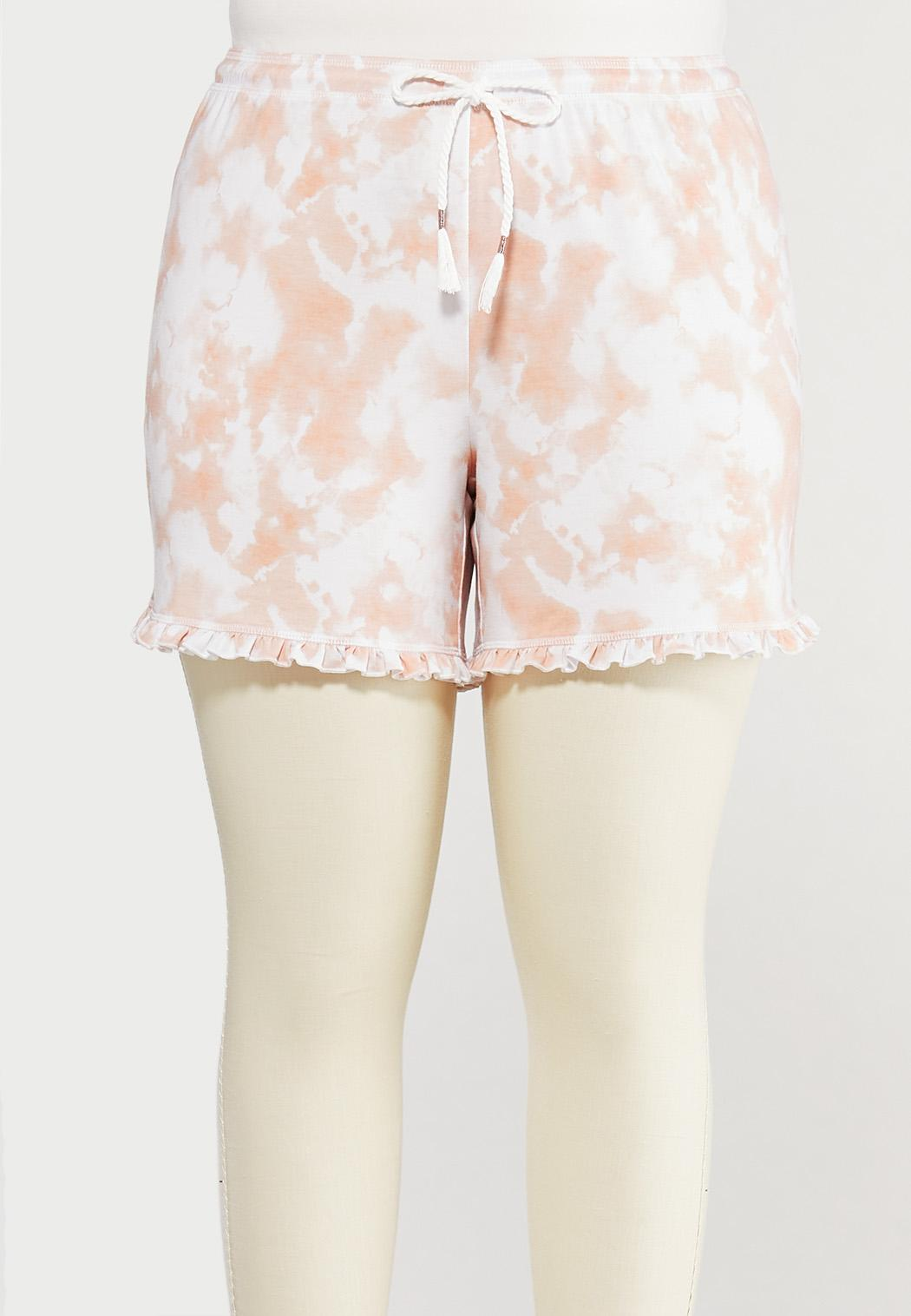 Plus Size Ruffled Tie Dye Lounge Shorts