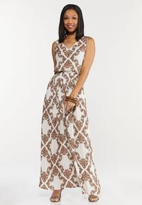 Plus Petite Smocked Paisley Maxi Dress