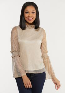 Plus Size Gold Shimmer Bell Sleeve Top