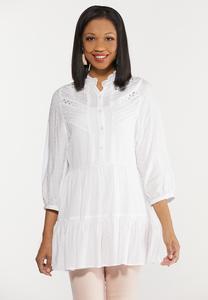 Plus Size Tiered White Tunic