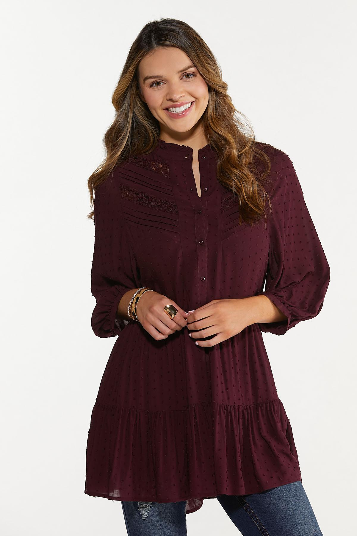Plus Size Lace Inset Tiered Tunic