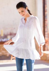 Plus Size Tiered White Tunic
