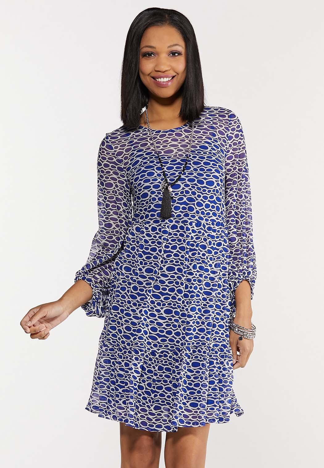 Blue Mesh Geo Dress