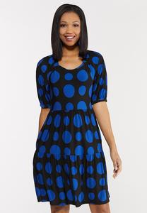 Plus Size Polka Dot Puff Sleeve Dress