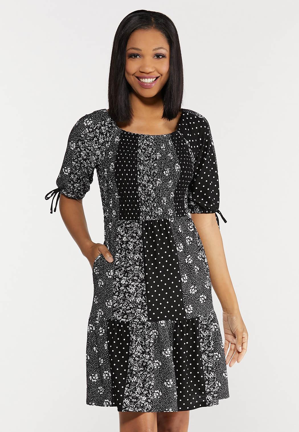 Smocked Patchwork Dress