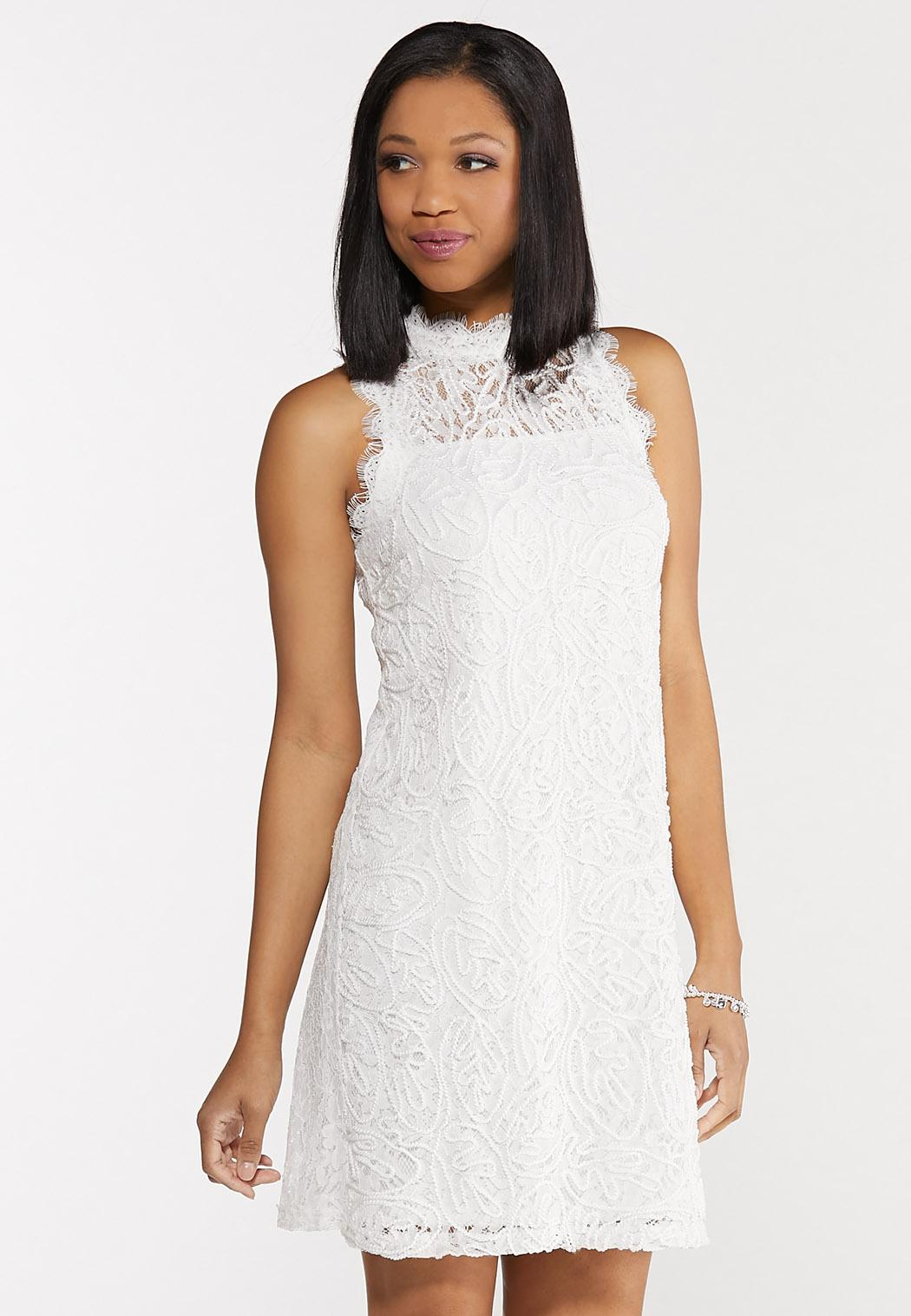 Lace Mock Neck Shift Dress