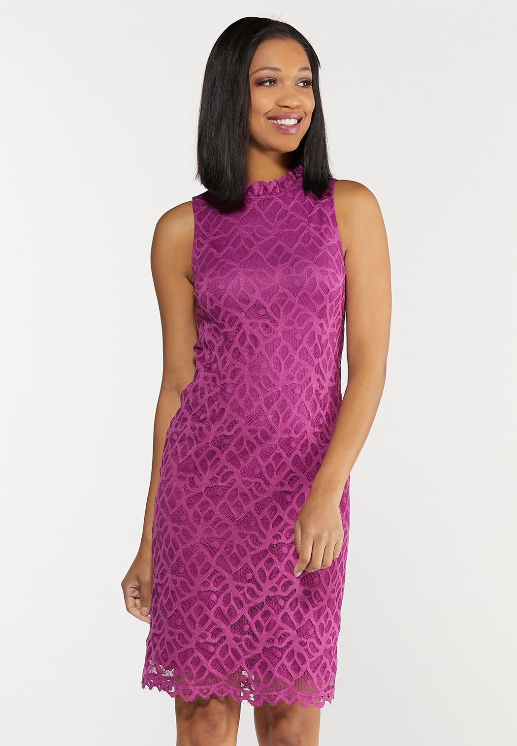 Plus Size Lace Mock Neck Dress