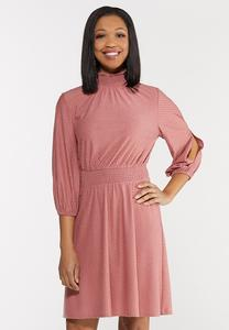 Plus Size Smocked Mock Neck Dress