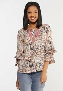 Plus Size Paisley Pleated Sleeve Top