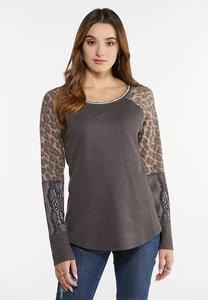 Plus Size Animal Sleeve Thermal Top