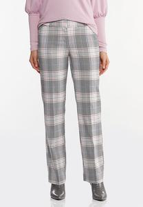 Petite Lavender Plaid Trouser Pants