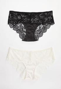 Plus Size Ivory Black Panty Set