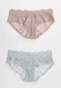 Lace Mesh Hipster Panty Set