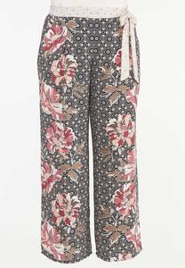 Plus Size Mixed Floral Palazzo Pants