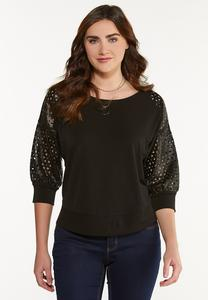Plus Size Laser Cut Faux Sleeve Top