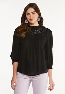 Ruffled Lacy Neck Top