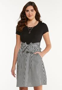 Solid Stripe Tie Dress