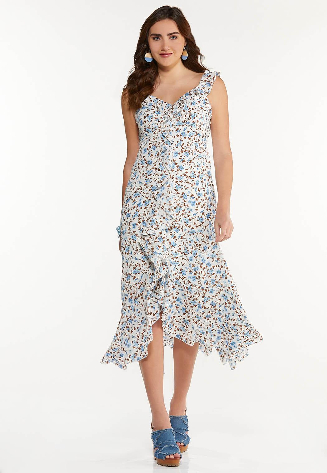 Ruffle Floral High-Low Dress