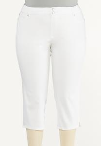 Plus Size Cropped White Jeans