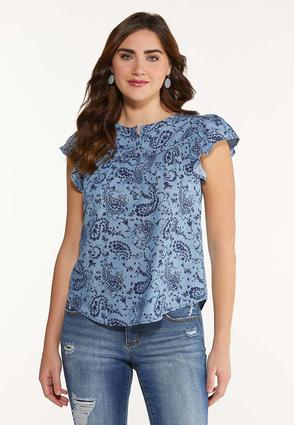 Plus Size Paisley Chambray Top