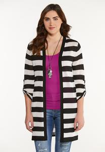 Plus Size Sheer Contrast Stripe Cardigan