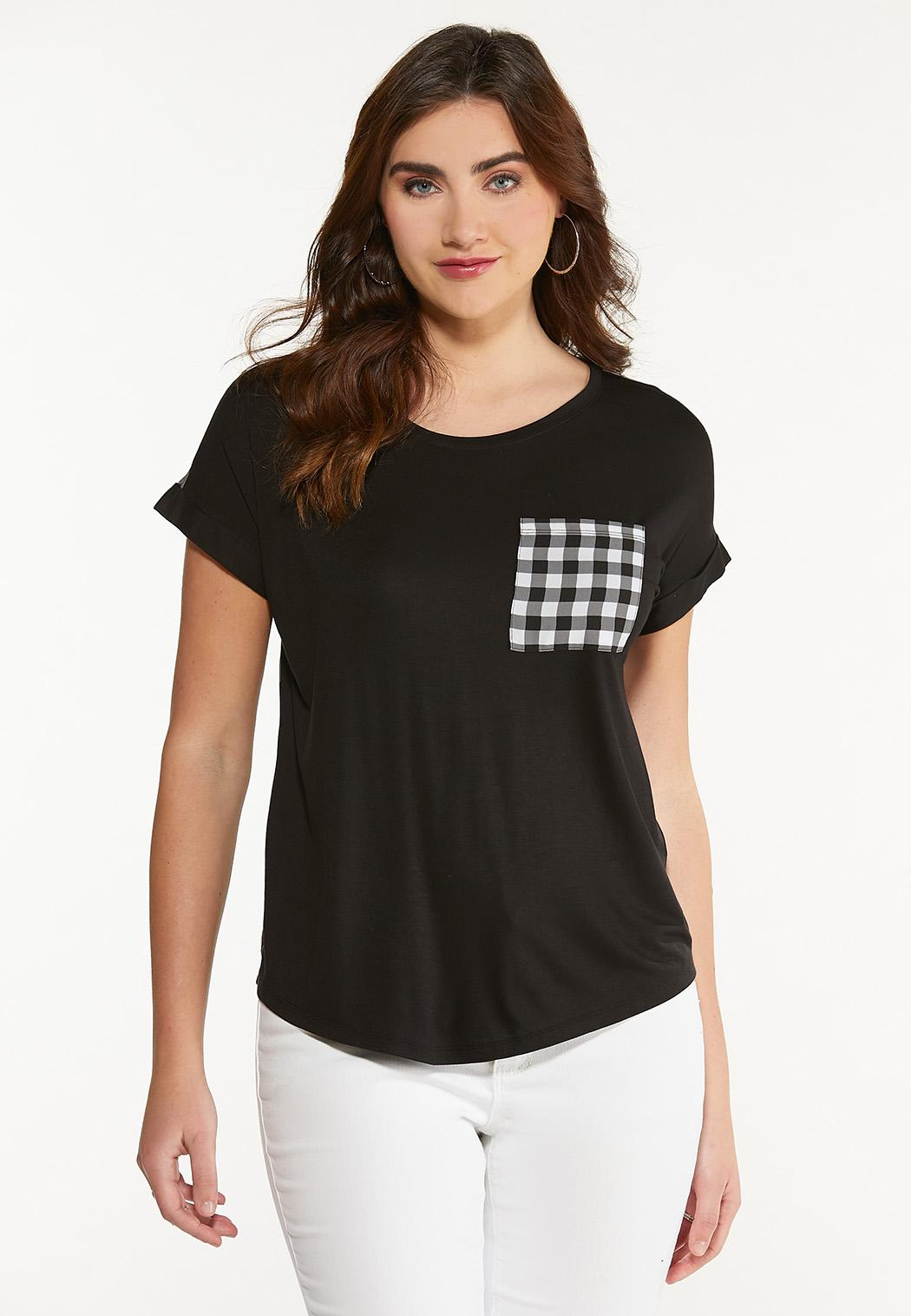 Checkered Detail High-Low Tee