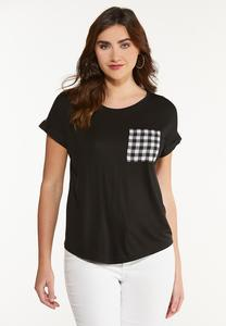 Plus Size Checkered Detail High-Low Tee