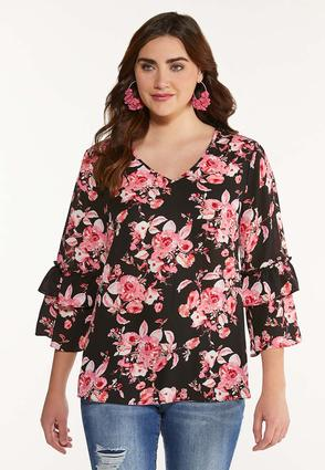 Plus Size Pink Bloom Ruffle Sleeve Top