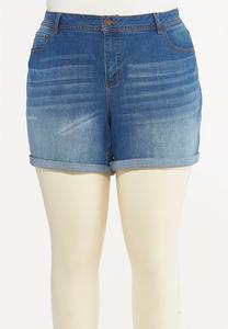 Plus Size Shape Enhancing Denim Shorts