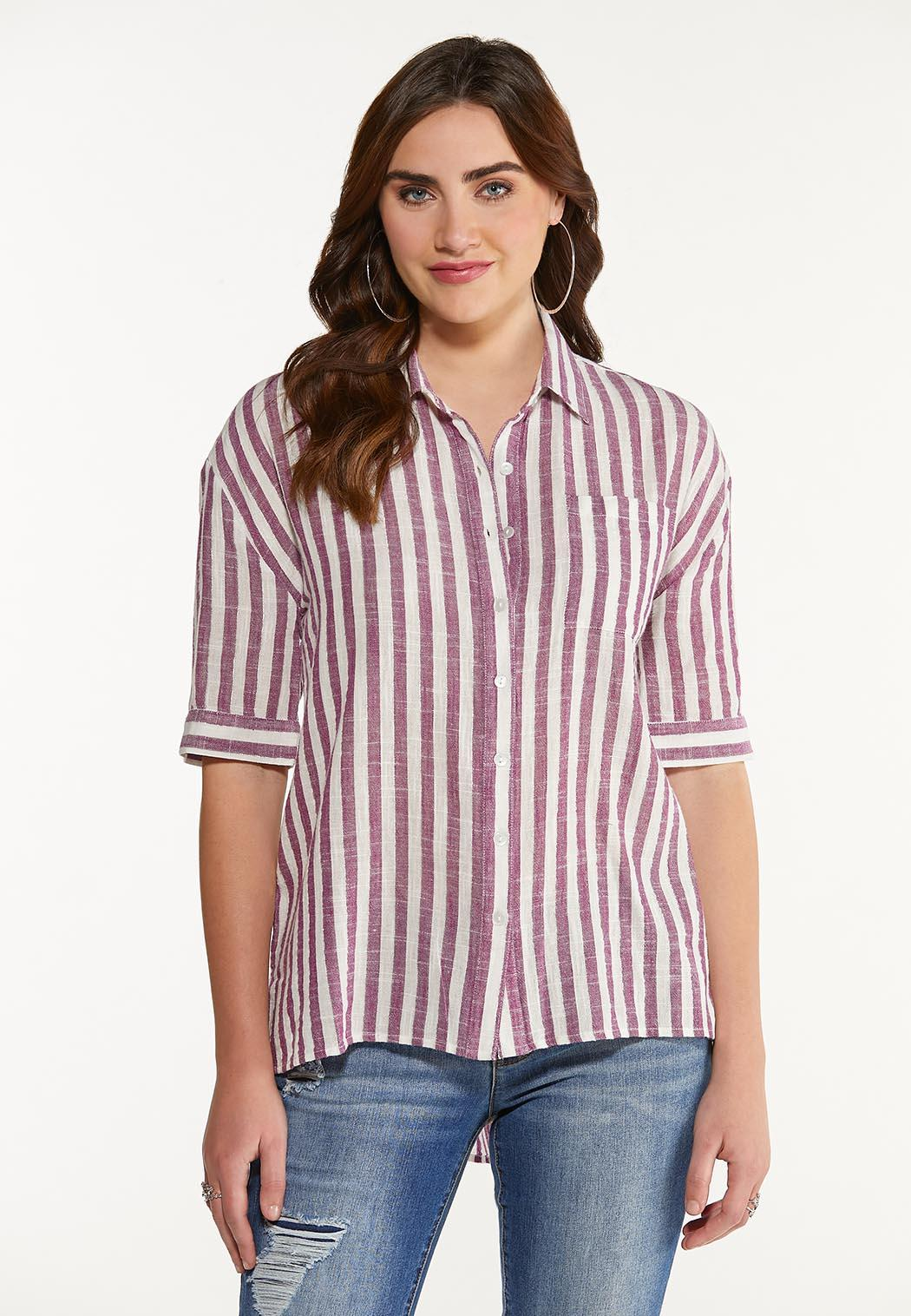 Plus Size Stripe High-Low Top