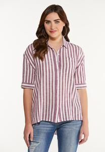 Plus Size Stripe High-Low Top