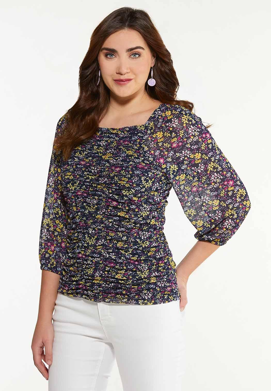 Floral Ruched Mesh Top