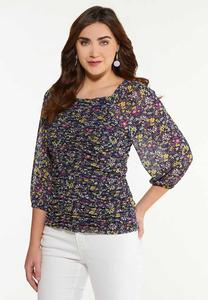 Plus Size Floral Ruched Mesh Top