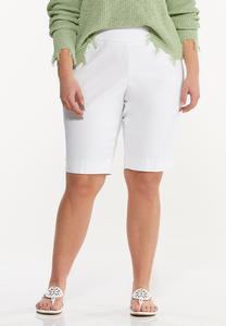 Plus Size Solid Bengaline Bermuda Shorts