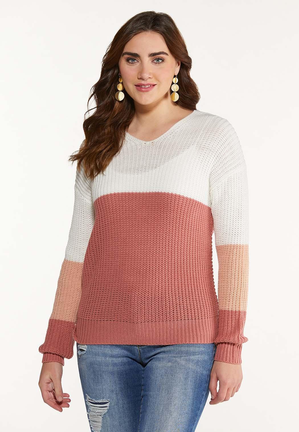 Plus Size Colorblock Twist Back Sweater