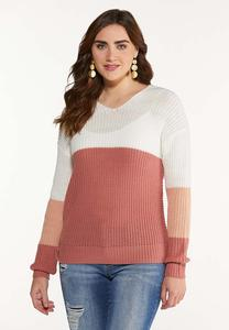 Plus Size Colorblock Twist Back Sweater