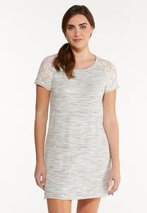 Plus Size Casual Lace Trim Dress